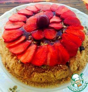 Рецепт Клубнично-мятный торт с шоколадом
