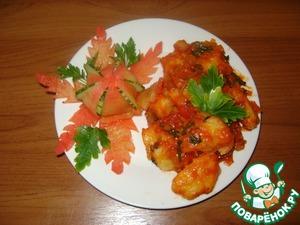Рецепт Картофельные клёцки в томатном соусе с луком-пореем и базиликом