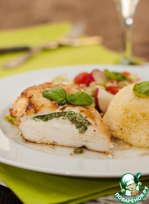 Рецепт Куриные грудки со сметаной, зеленью и пшеном