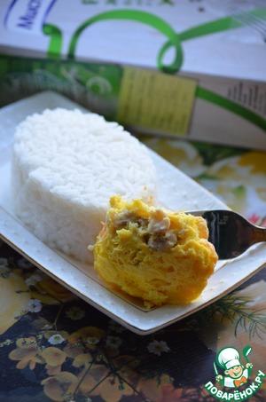 Рецепт Камбала в суфле из сыра с рисом