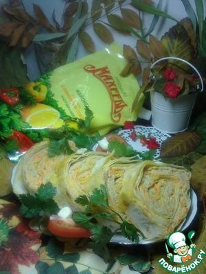 Рецепт Рулет из лаваша с фаршем и морковью