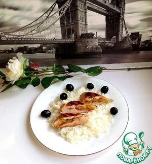 Рецепт Жареная куриная грудка, фаршированная пореем и томатом
