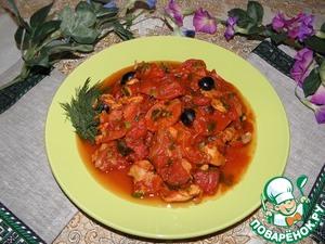 Рецепт Куриное мясо с копчеными колбасками в ароматной подливке