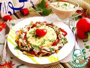 Рецепт Печеные овощи под соусом баже и золотым пшеном