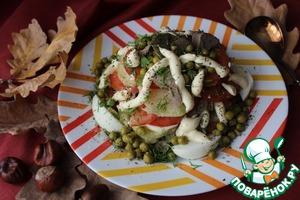 Рецепт Овощной салат с куриной печенью