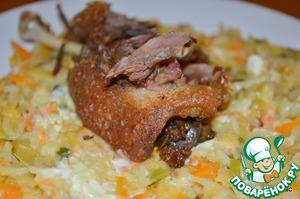 Рецепт Утка конфи с чечевицей и рисом