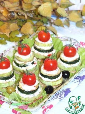 Рецепт Башенки из цукини с чесночным соусом