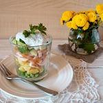 Салат с курицей, картофелем и зеленым горошком