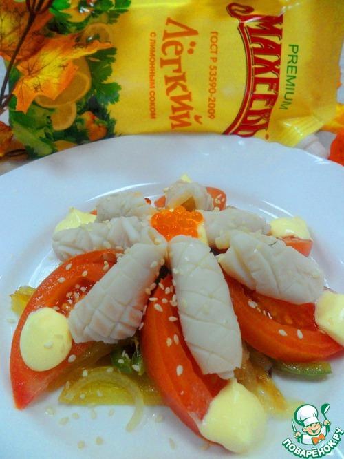 Теплый салат из кальмаров рецепт