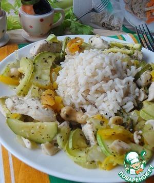 Рецепт Жареная курица с кешью и овощами