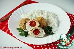 Рецепт Куриные фрикадельки, фаршированные помидорами черри