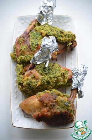 Рецепт Хрустящие крылышки в зеленой панировке с рисом