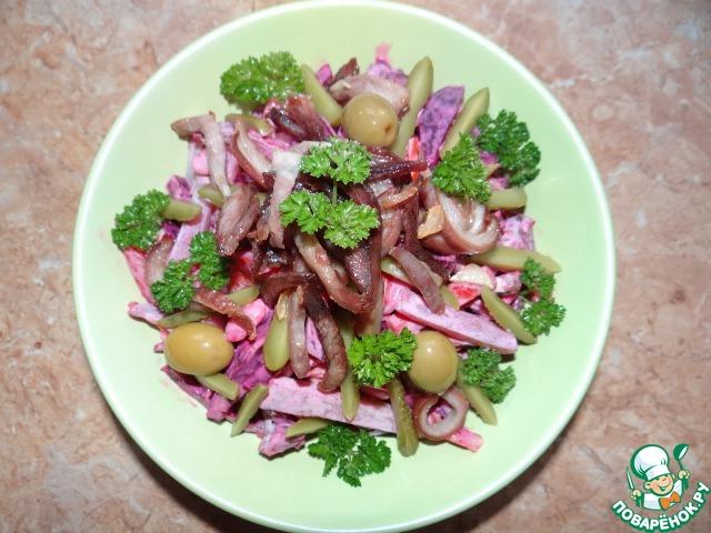 Салат с свиными ребрышками