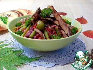 Рецепт Теплый салат со свиными ребрышками и овощами