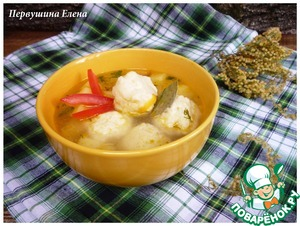 Рецепт Куриный суп с сырно-рисовыми клецками