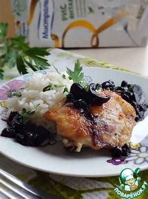 Рецепт Жареная курица с грибами и черникой