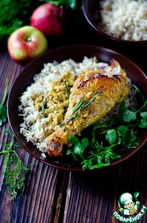 Курица в яблочном маринаде домашний рецепт с фото готовим