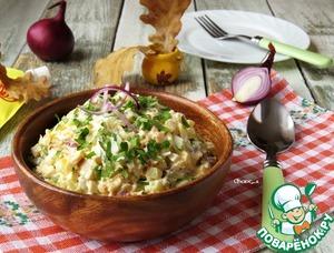 Салат с копчёным кальмаром рецепт приготовления с фото