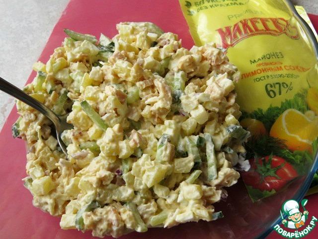 Рецепт салат кальмар копчёный