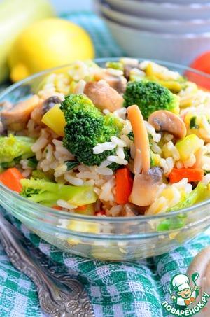 Рецепт Теплый салат из бурого риса с овощами