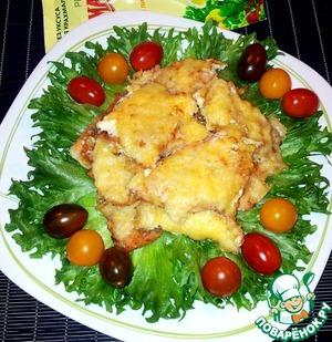 Простой рецепт приготовления с фотографиями Лосось в панировочных сухарях под майонезом и сыром