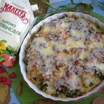 Запеканка из брокколи с мясным фаршем и сыром