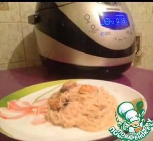 Рецепт Мидии в сливочно-томатном соусе с рисовой лапшой
