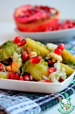 Рецепт Салат с брюссельской капустой, рисом и гранатом