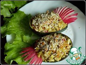 Рецепт Овощной салат с рисом и соусом из авокадо