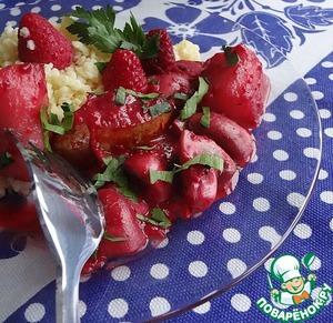 Рецепт Жареные шампиньоны с грушами и малиной