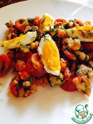 Рецепт Салат из тунца с рукколой и помидорами черри