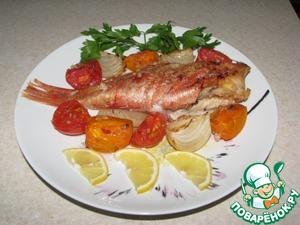 Рецепт Морской окунь, запеченный с овощами