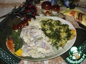 Рецепт Селедка с луком в майонезно-горчичной заправке