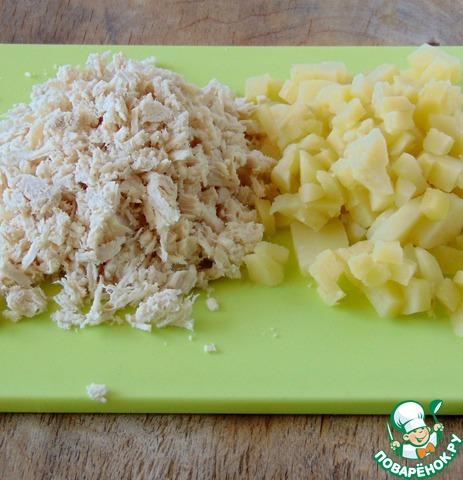 рецепт салат с отварной куриной грудкой и