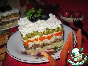 Рецепт Салат из шпрот с овощами и брынзой