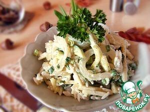 Рецепт Салат с кальмаром и зеленым яблоком