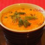 Морковное суфле с зелёным горошком