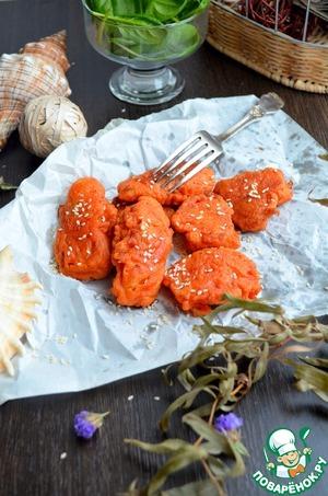 Рецепт Рыба в свекольно-морковном кляре с майонезным соусом