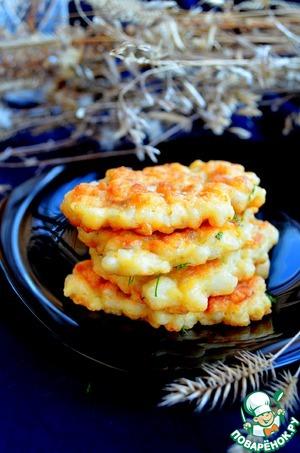 Рецепт Кукурузные оладушки из кальмара и рыбы