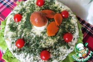 Рецепт Грибной бисквит с сырным кремом