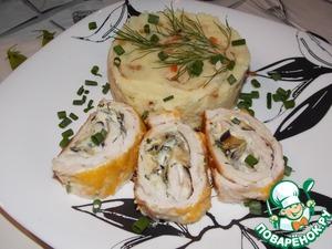Рецепт Куриный рулет с баклажаном и плавленным сыром