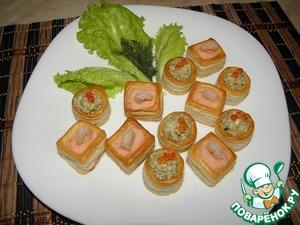 Рецепт Тарталетки с муссом из креветок и семги