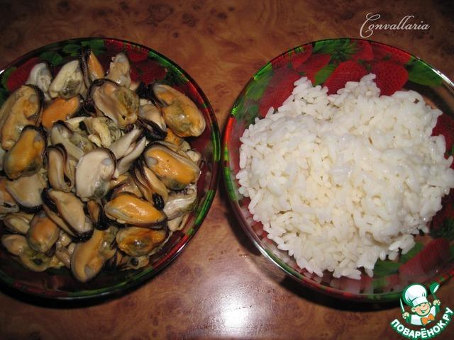 салат с мидиями с овощами