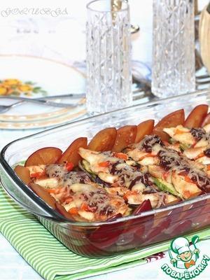 Рецепт Запеченная курочка с овощами со сливовым соусом
