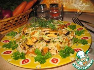 Рецепт Теплый салат с мидиями и сезонными овощами
