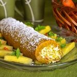 Морковный рулет с ананасовым кремом
