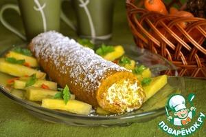 Рецепт Морковный рулет с ананасовым кремом
