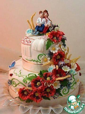 Торт юбилейный в украинском стиле фото