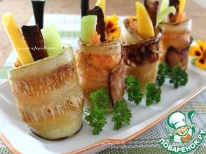 Рецепт Закуска из кабачка с чесночной морковной начинкой