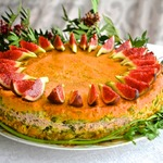 Овощной пирог с индейкой и фруктовым соусом